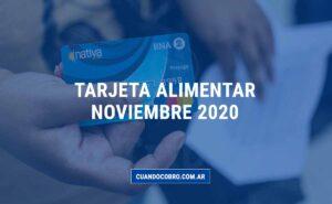 tarjeta alimentar cuando cargan noviembre 2020
